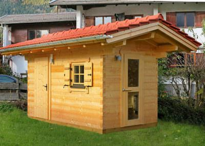Garden Sauna with Equipment Room, 12 cm, Square Logs