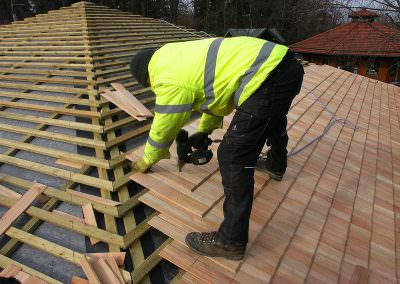 Hand-Chopped Larch Shingles Are Mounted to Waterproof Substructure with Stainless Steel Nails
